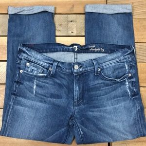 7FAM Crop Straight Leg Jeans